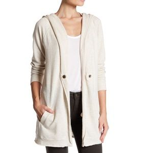 Caslon - Raw Edge Hooded Knit Jacket
